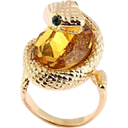 SALE VINTAGE 18k gold plated striking cobra snake ring large faceted amber crystal and emerald