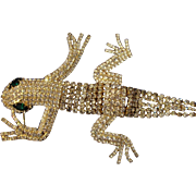 SALE Vintage Huge 6 inch Rhinestone alligator articulated Brooch in gold tone with pave rhines