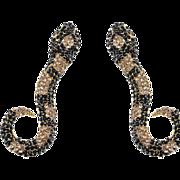 SALE VINTAGE HUGE Rhinestones in jet and topaz stones snake Dangle pierced earrings