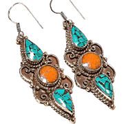 REDUCED VINTAGE Sterling silver 925 turquoise and coral dangle earrings