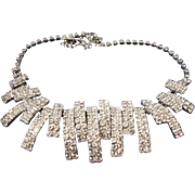 SALE VINTAGE Brilliant diamante rhinestone bib necklace with sections