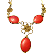 SALE VINTAGE Unique Artists crafted Bib necklace with large faux coral cabochons and gold tone