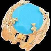 SALE VINTAGE Chunky huge aqua lucite stone set in filigree wide gold tone bracelet