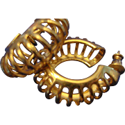 SALE VINTAGE Gold tone hoop post earrings, with open detail