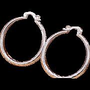 SALE VINTAGE 925 Sterling silver large hoop pierced earrings