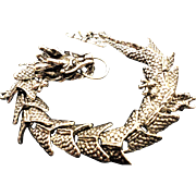 VINTAGE Tibet Silver Dragon bracelet with toggle clasp