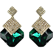 SALE VINTAGE Large square Emerald rhinestone stud earrings with pave rhinestones