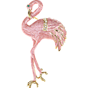 SALE VINTAGE Pearlescent Pink Enamel pin/brooch hand Painted Flamingo Bird