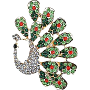 SALE VINTAGE large Peacock pin/brooch with peridot, emerald, ruby and clear Rhinestones