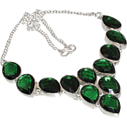SALE VINTAGE truly beautiful Emerald green quartz bib necklace in 925 sterling silver