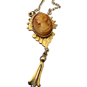 SALE VINTAGE Edwardian inspired celluloid cameo pendant necklace in gold tone
