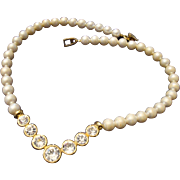 SALE VINTAGE signed Napier Cream simulated 8mm pearls with bezel set rhinestones