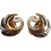SOLD VINTAGE Awesome Swan clip on earrings in gold tone and enamel with rhinestones