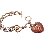 SALE VINTAGE Gold tone heavy linked bracelet with pink rhinestone puffy heart