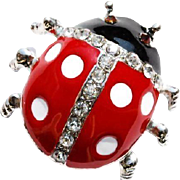 SALE VINTAGE Red and black enamel Lady bug pin with rhinestones in silver tone