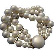 SALE VINTAGE 3 Strand 8mm hand knotted faux pearl bracelet