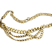 REDUCED VINTAGE Draped Brushed gold tone linked necklace/ belt