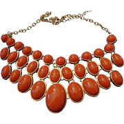 SALE VINTAGE Egyptian inspired collar in deep orange lucite 3 rows in gold tone linked ...