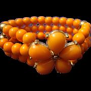 SALE VINTAGE 3 Strand bracelet in coral lucite with rhinestones