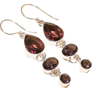 REDUCED VINTAGE Amethyst gemstone sterling silver dangle earrings with ear wires.