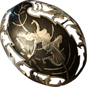 SALE Vintage Siam Sterling Silver Niello Goddess Oval Pin Brooch