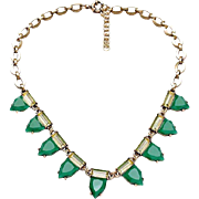 SALE VINTAGE Art Deco Emerald Green Glass Necklace in brass