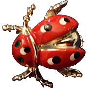 SALE VINTAGE Adorable Lady Bug pin in red enamel with black and white polka dots.