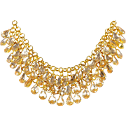 SALE VINTAGE Collar necklace in Gold Tone with three rows of Crystal Rhinestones