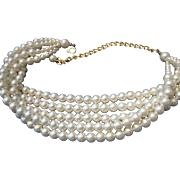 SALE VINTAGE 5 Strand 6mm simulated cream pearl necklace/choker