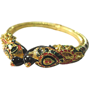 SALE VINTAGE Gold tone clamper with peacocks and ornate enamel designs
