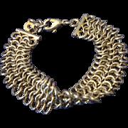 SALE VINTAGE triple row Chain maille gold tone bracelet