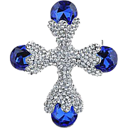 SALE VINTAGE Maltese cross pin/brooch with sapphire and pave set rhinestones in silver tone