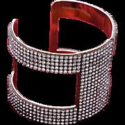REDUCED VINTAGE WIDE Rhinestone open cuff bracelet in gold tone