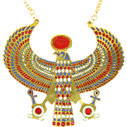 REDUCED VINTAGE HUGE inspired by Ancient Egyptian God Horus pendant necklace in Gold tone with