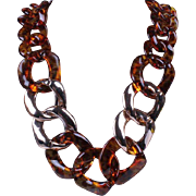 SALE VINTAGE chunky tortoise shell lucite necklace with gold sprayed links