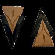 SALE VINTAGE Pair of Art Deco bakelite dress clips in butterscotch and black