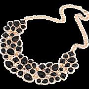 SALE VINTAGE Egyptian revival jet black stones collar necklace in gold tone