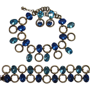 Napier Shades of Blue Necklace Bracelet Earrings Set Bk