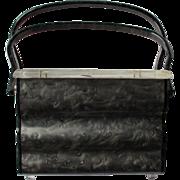 Starburst Floral Mottled Grey Lucite Box Miami Purse