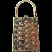 Miami Handbag Transparent Gold Thread Confetti Lucite Handle