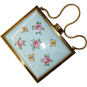Guilloche Enamel Floral Carryall Minaudiere Purse Compact Unused