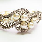 Cultured Pearl & Diamond Platinum Bracelet ~ circa 1950's