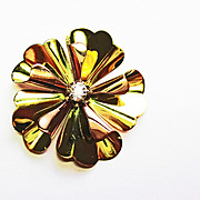 REDUCED Hand Made Flower Pin in 14k Pink  & Yellow Gold ~ circa 1930's