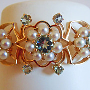 Cultured Pearl & Aquamarine Bracelet in 14k Yellow Gold ~ circa 1950's