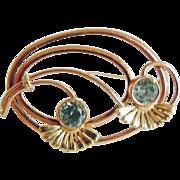 14k Yellow Gold Pin with Genuine Blue Zircons ~ circa 1930's