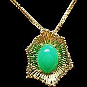 14k YG Italian Made Green Onyx Pendant ~ circa mid-1950's