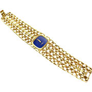 Woman's 18k Yellow Gold Baume & Mercier Watch with Lapis Face ~ circa 1960's