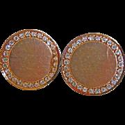 10k Yellow Gold & Diamond Cufflinks ~ 1950's