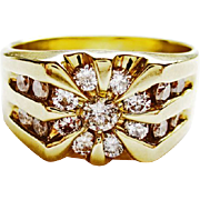 Man's Diamond Ring in 14k Yellow Gold ~ circa 1980's