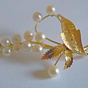 Pearl Pin in 14k Yellow Gold ~ circa 1970's